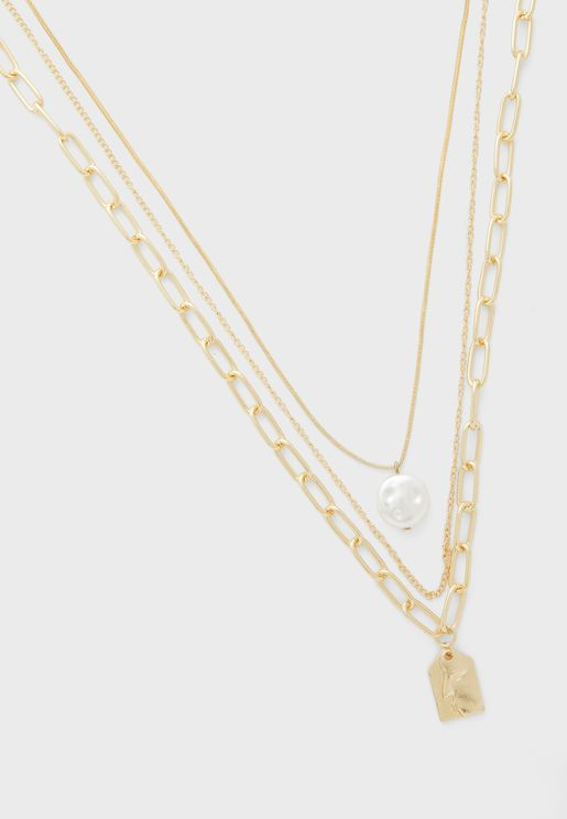 Triple Layer Chain And Padlock Necklace