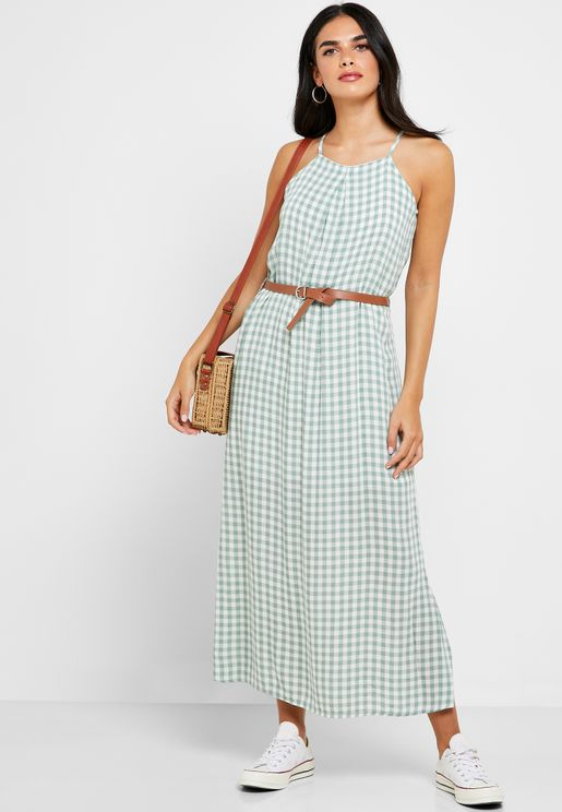 Gingham Belted Midi Dress