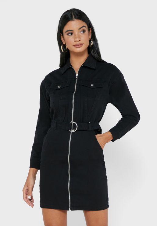Pocket Detail Denim Dress