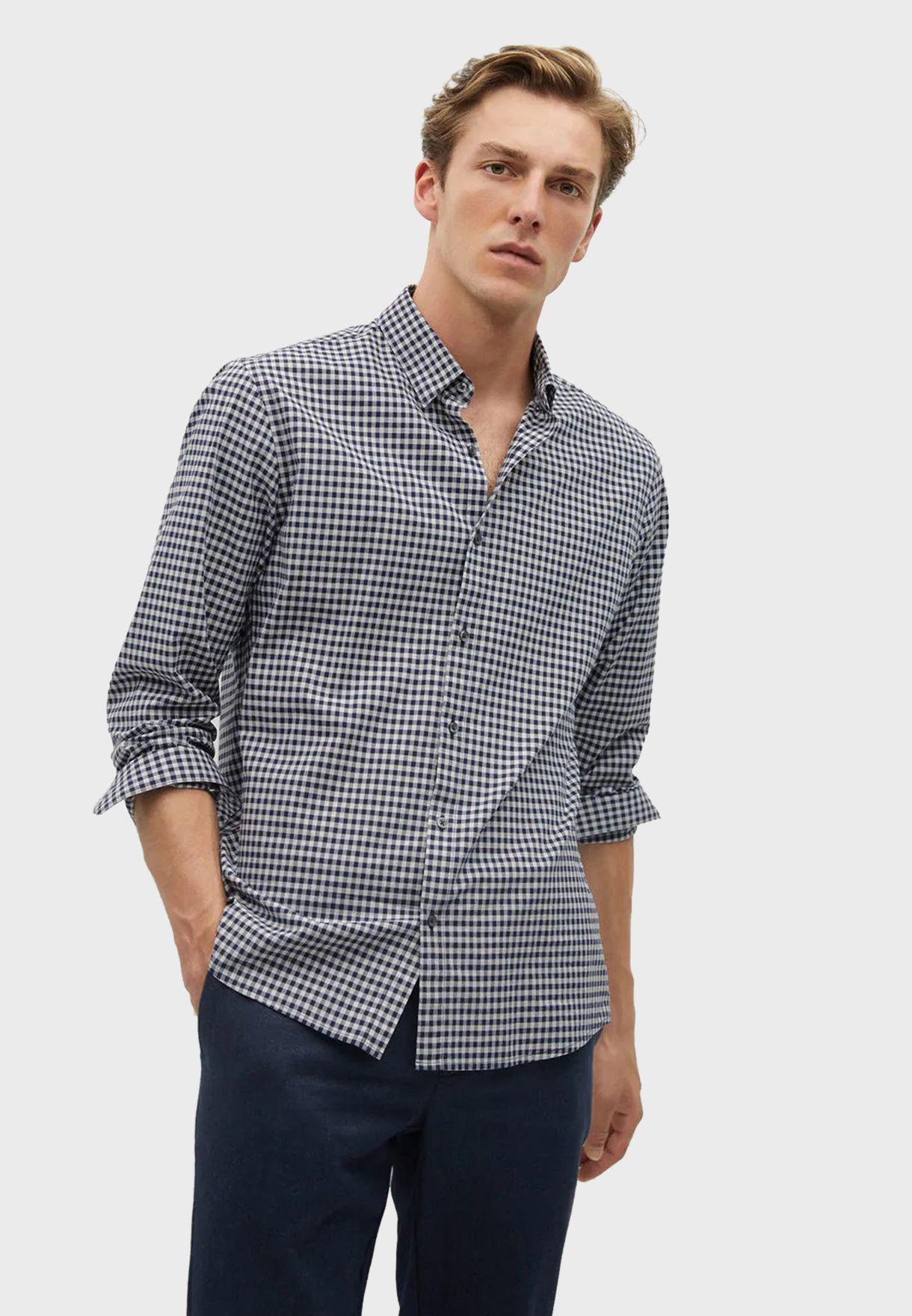 قميص مزين بطباعة مربعات