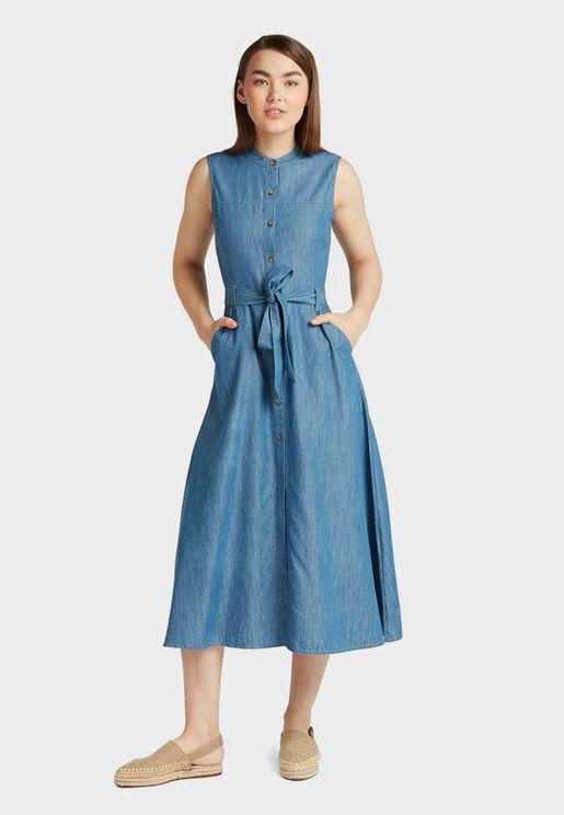 فستان جينز باربطة خصر