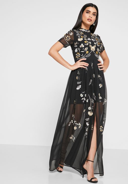High Neck Embroidered Dress