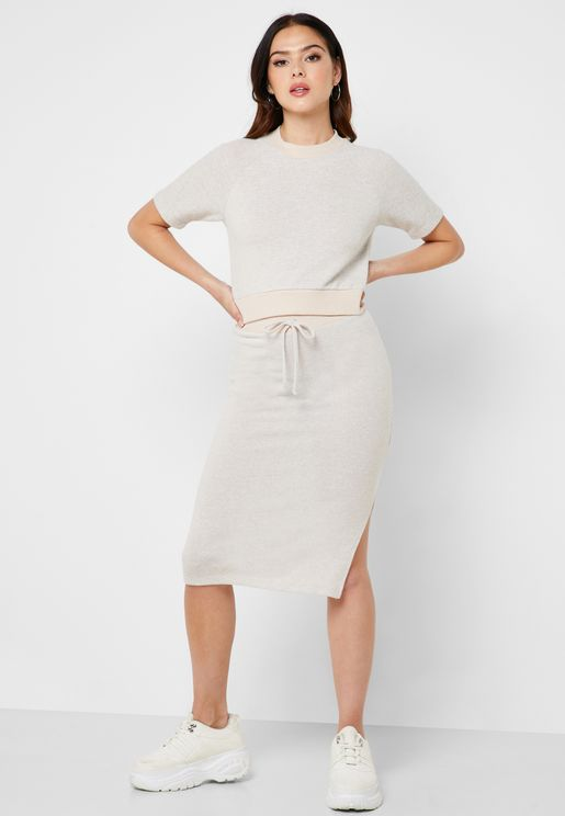 Tie Waist Bodycon Skirt Co Ord