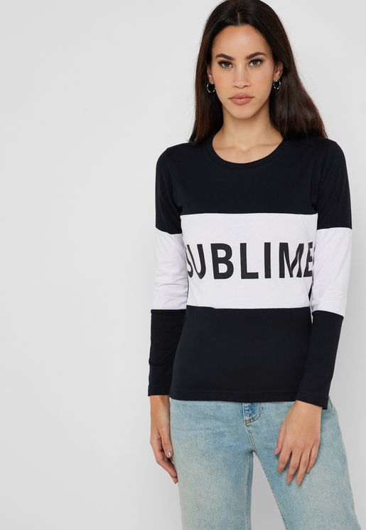 Contrast Paneled Slogan T-Shirt