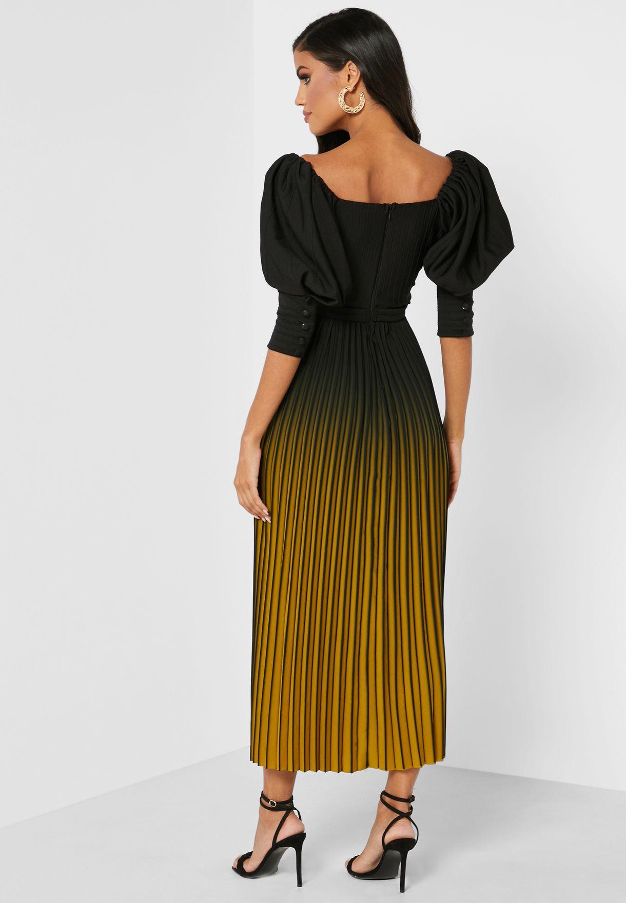 Pleated Puff Sleeves Dress