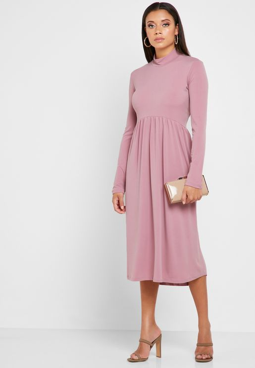 High Neck Pleated Skirt Midi Dress
