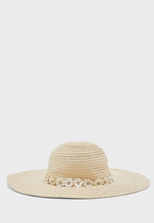قبعة قش مزين بورود
