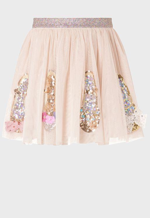Little Sequin Shoe Detail Tulle Skirt