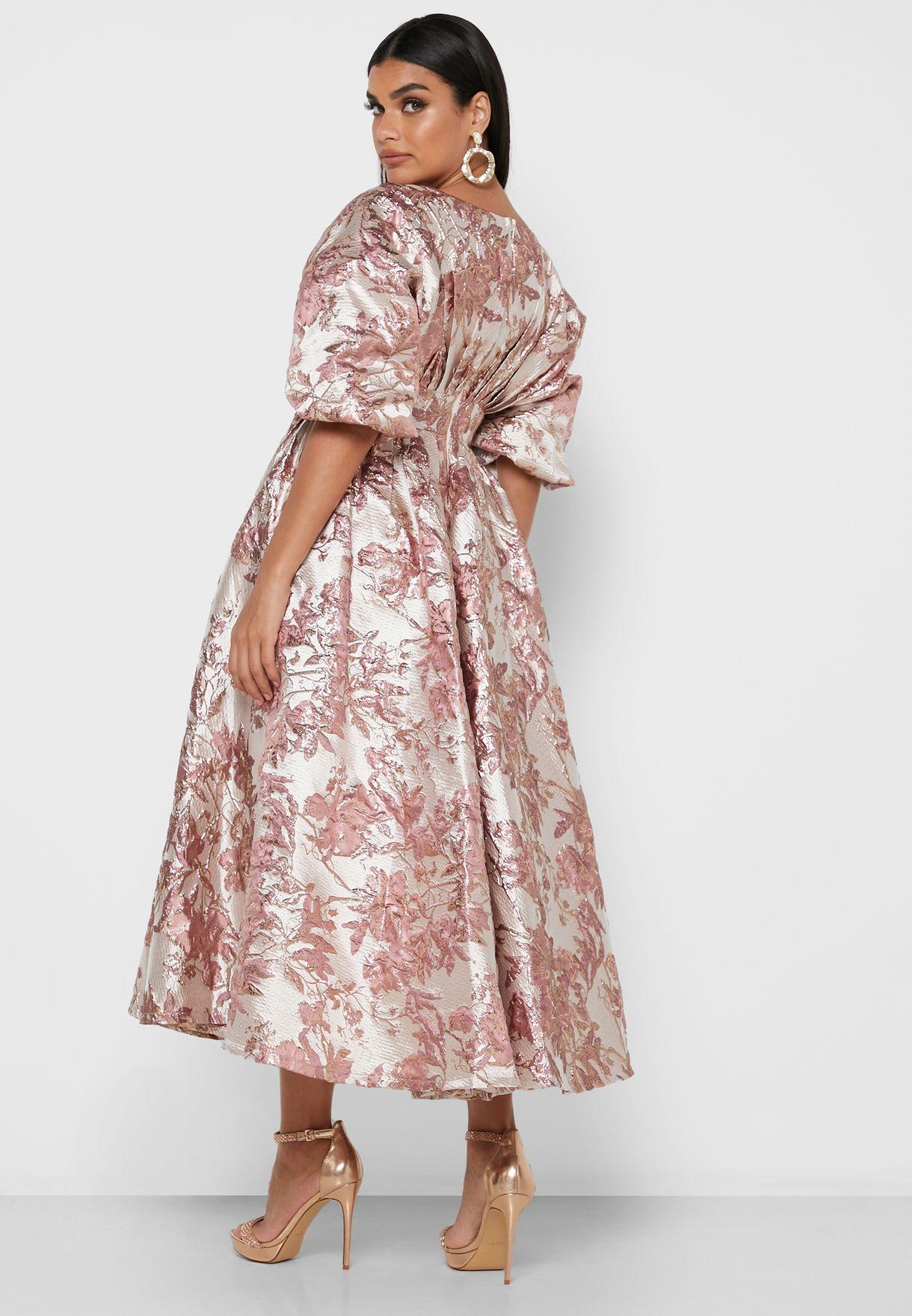 فستان ميدي مزين بأزهار
