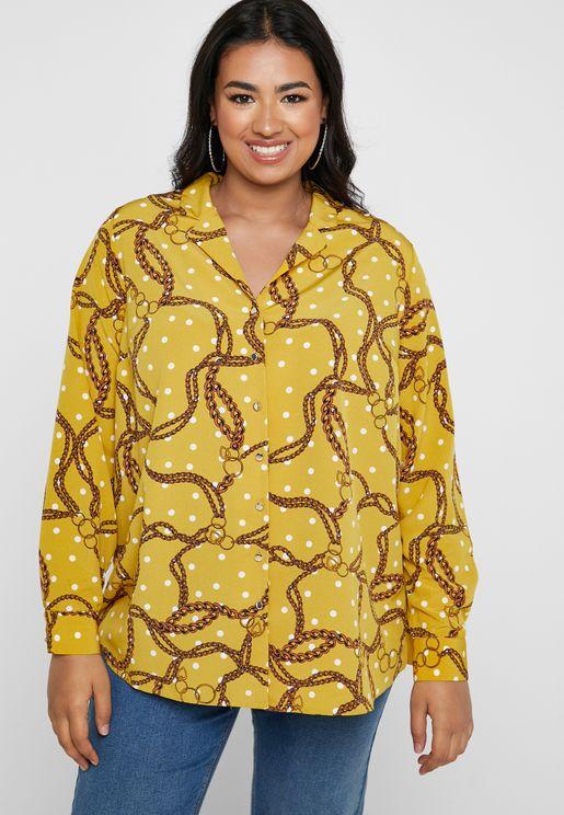 Chain Print Revere Collar Shirt