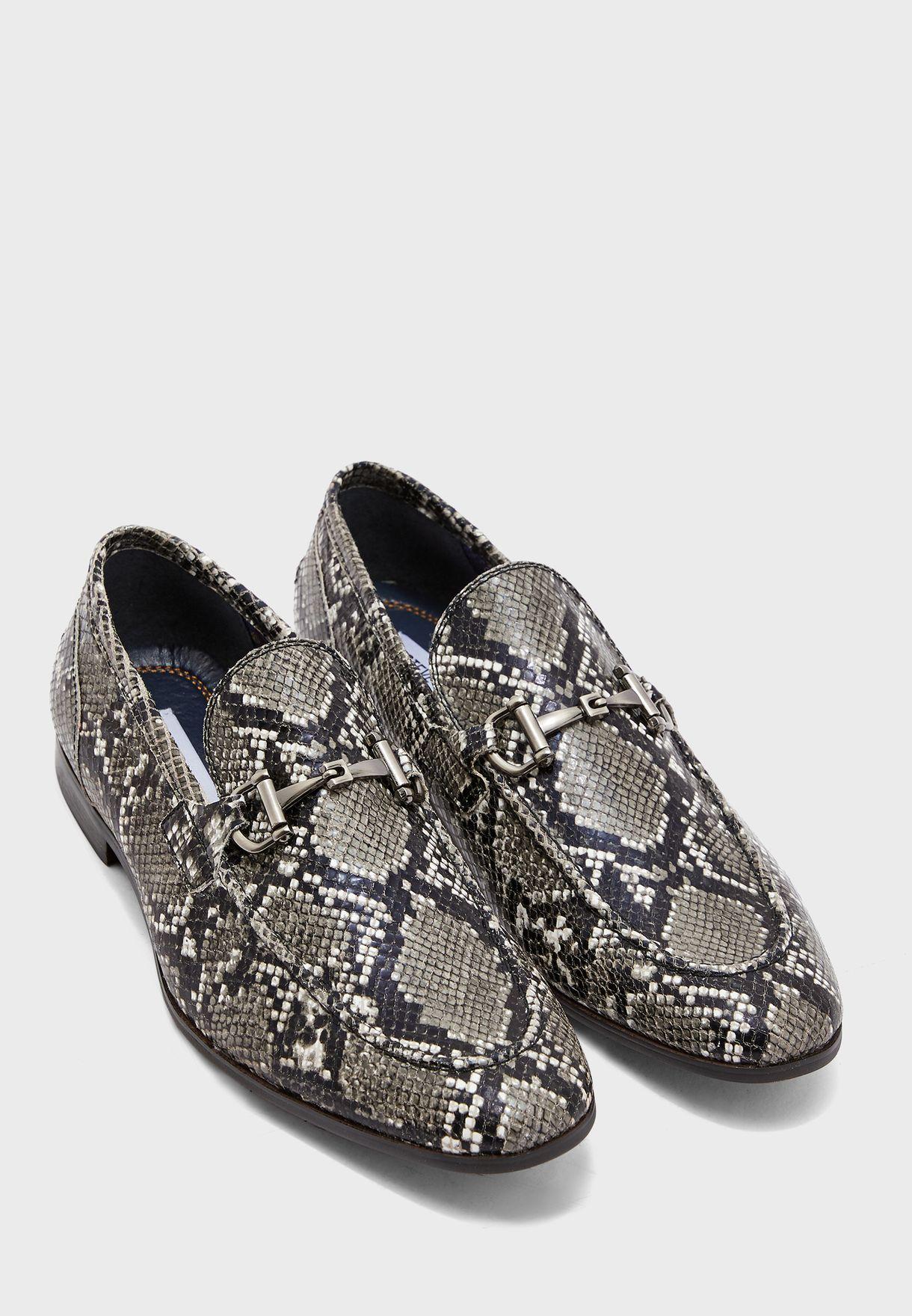 Debinair Snake Print Loafers