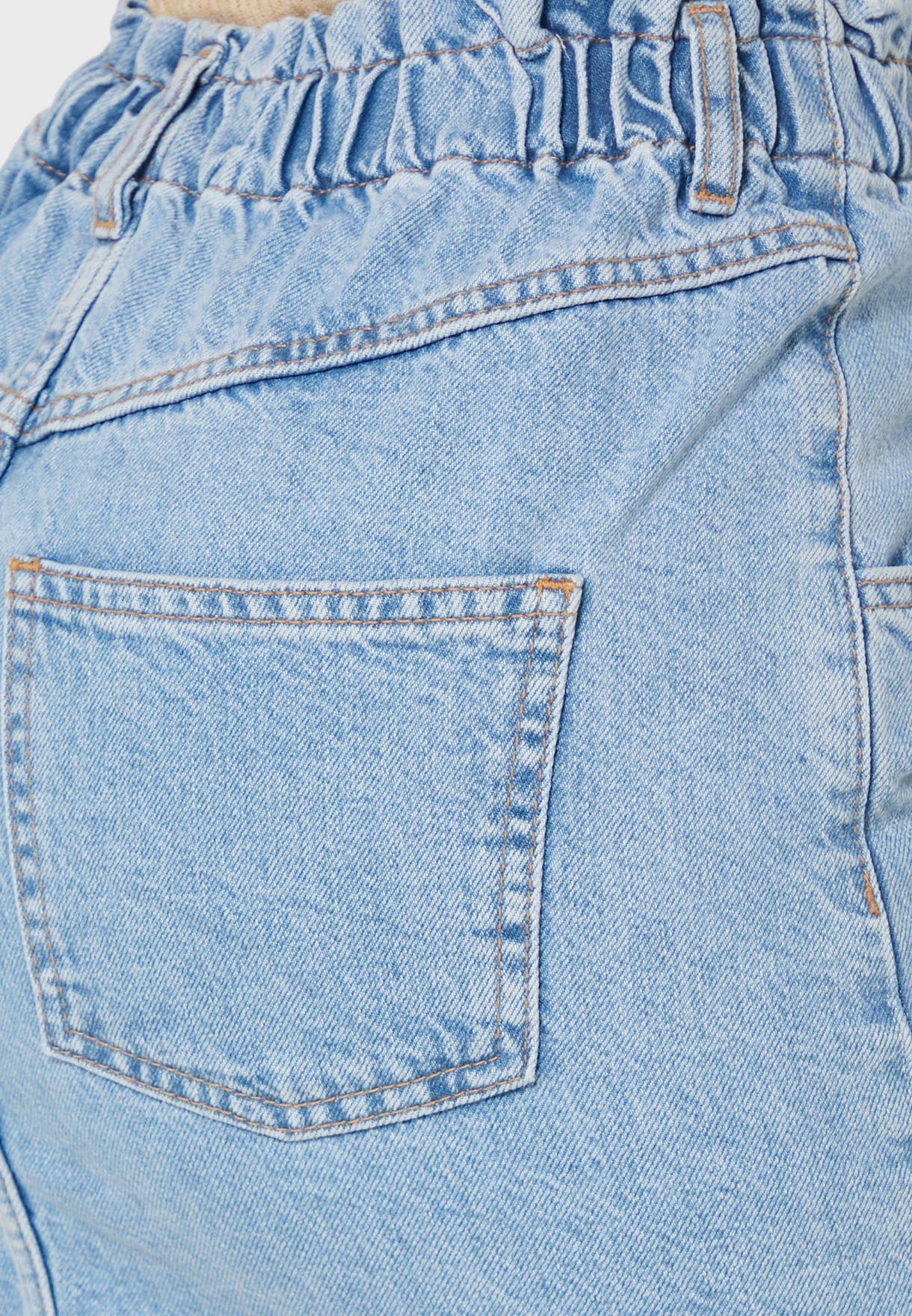 تنورة جينز بخصر بيبر باك