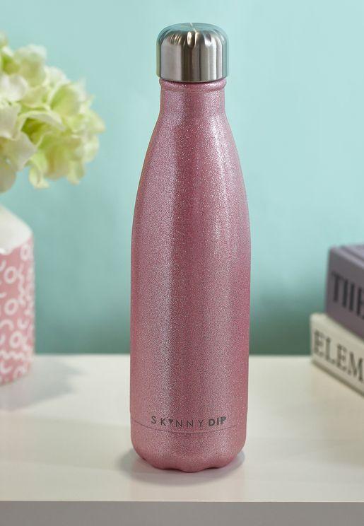 Pink Glitter Metal Water Bottle