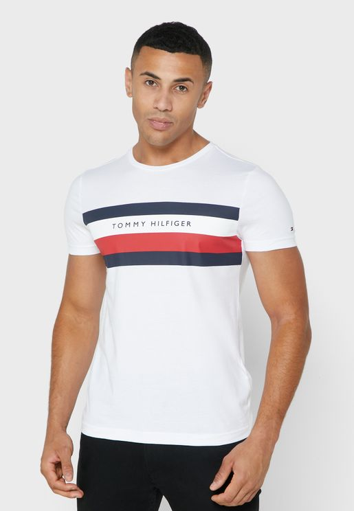 Chest Logo Stripe Crew Neck T-Shirt