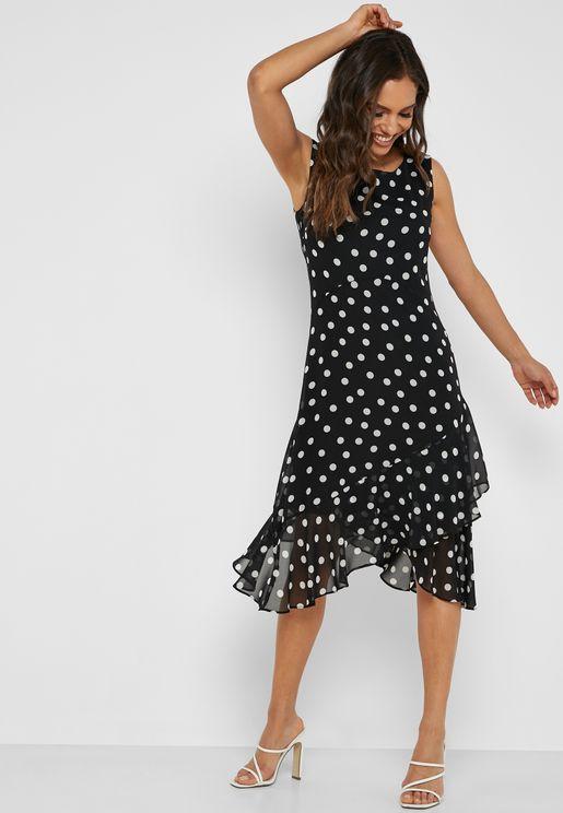 Spot Hanky Hem Ruffle Dress