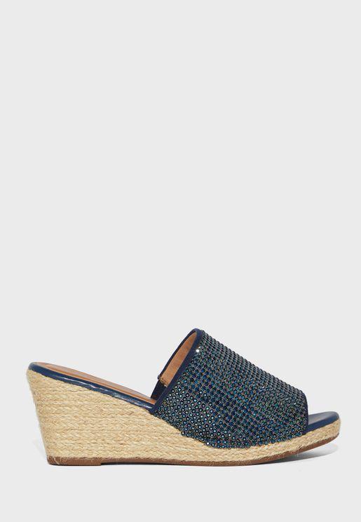 Wide Strap Mid Heel Wedge Sandal