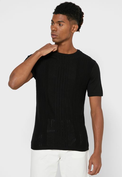 Slim Fit Crew Neck Knitted T-Shirt