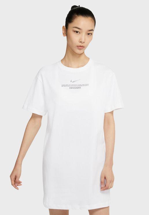 فستان بطباعة كتابة NSW