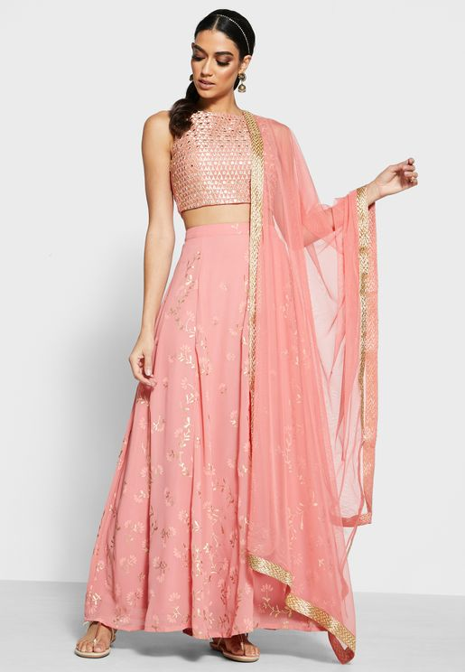 Net Dupatta With Gold Trim - Pink