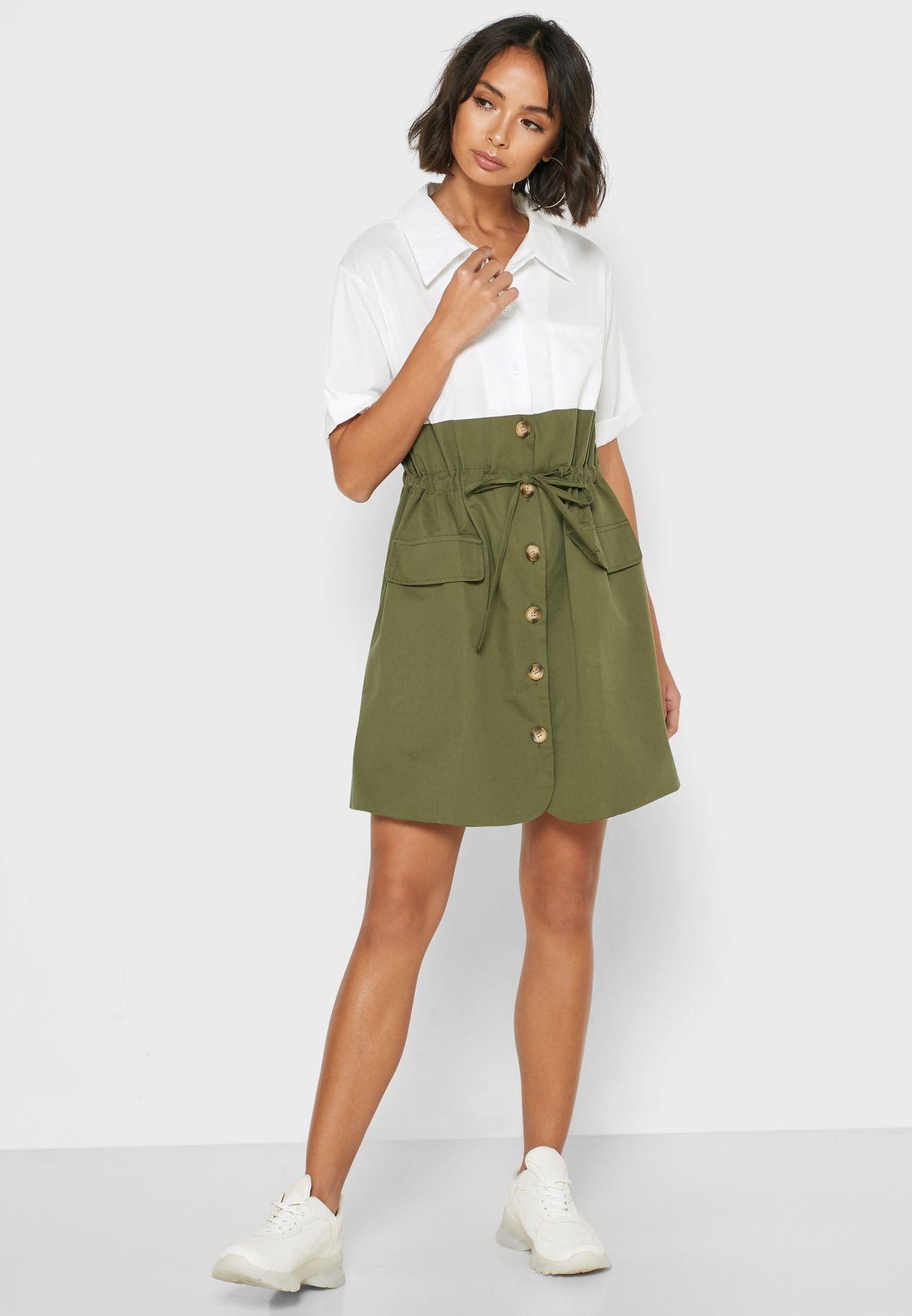 فستان قصير بنمط قميص