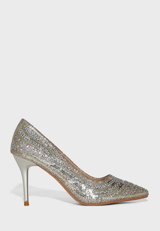 حذاء ترتر بكعب عالي