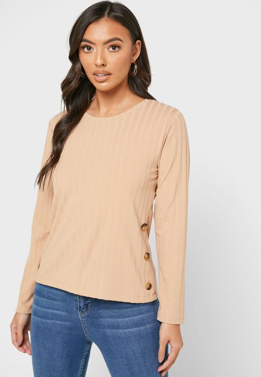 Side Button Ribbed Top