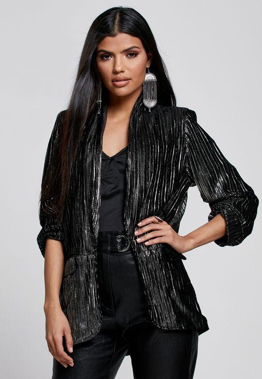 Ruched Sleeve Metallic Jacket