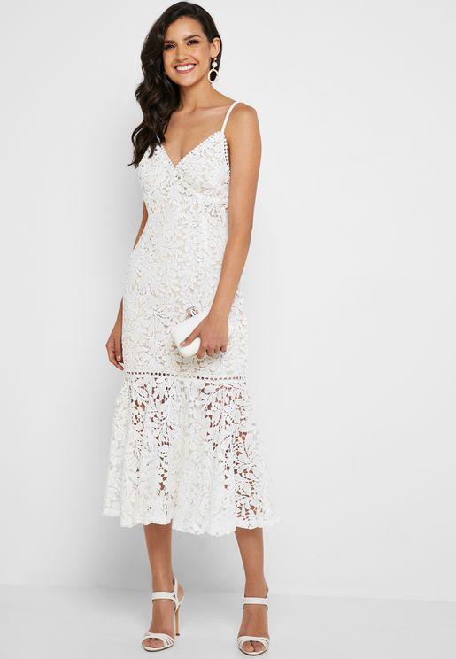 Spaghetti Strap Lace Trim Dress
