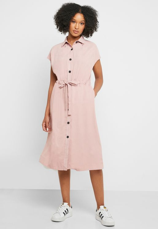 Button Down Shirt Midi Dress
