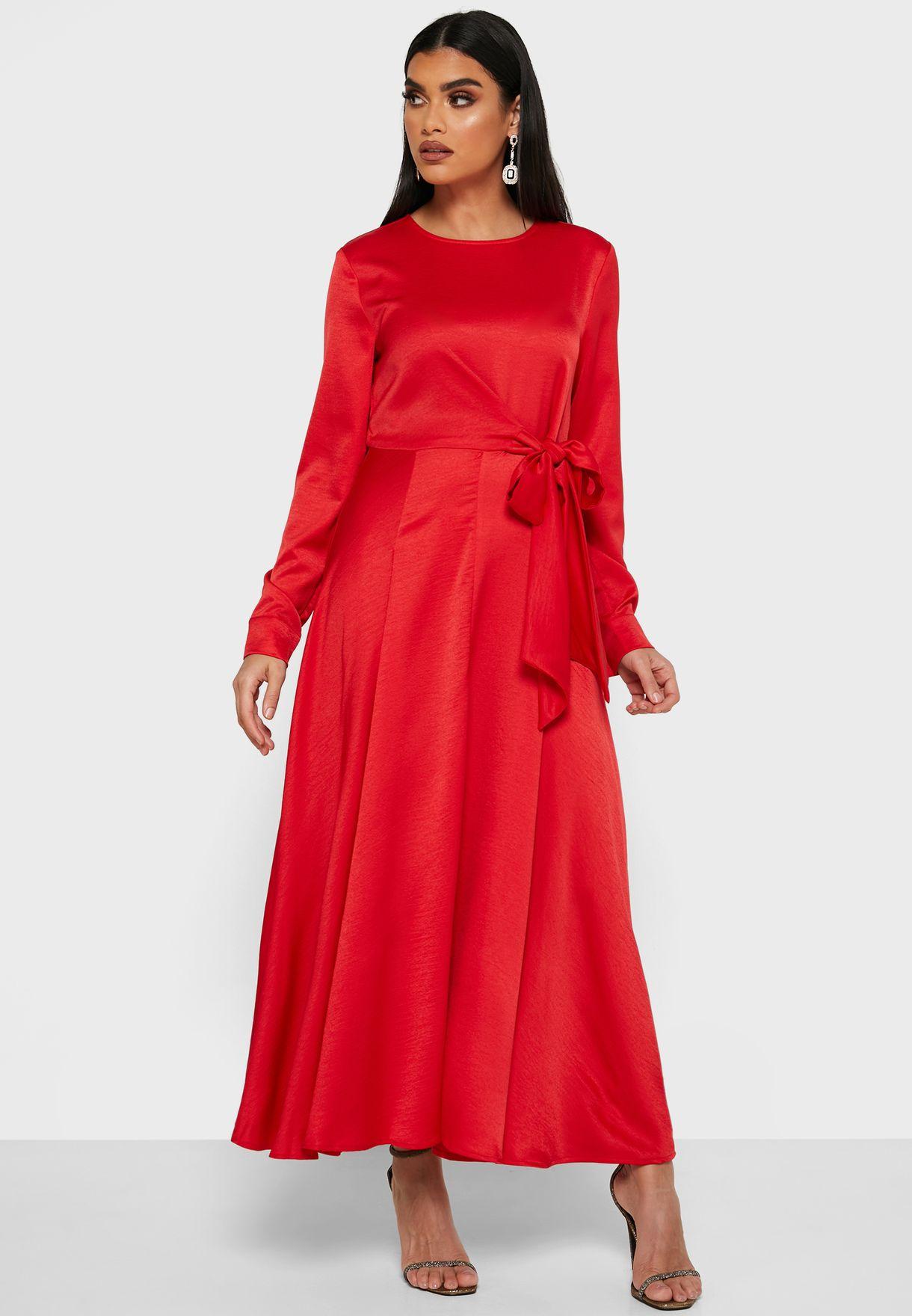 Tie Waist Satin Midi Dress