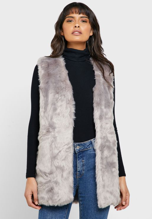 Faux Fur Sleeveless Coat