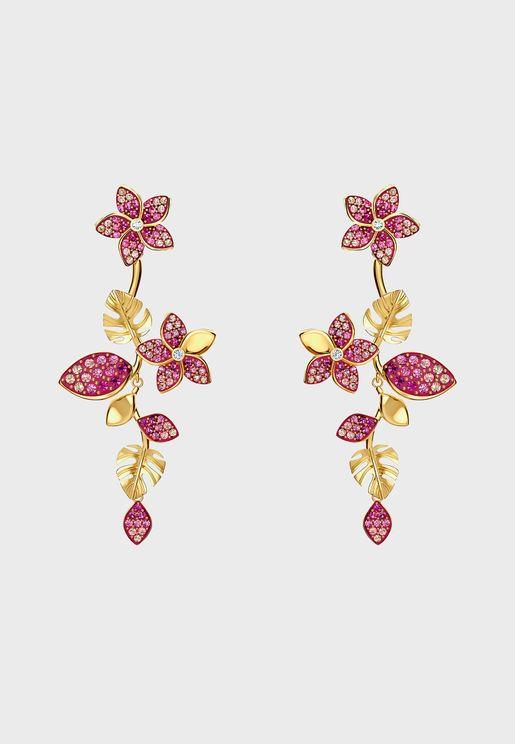 Tropical Long Flower Drop Earrings