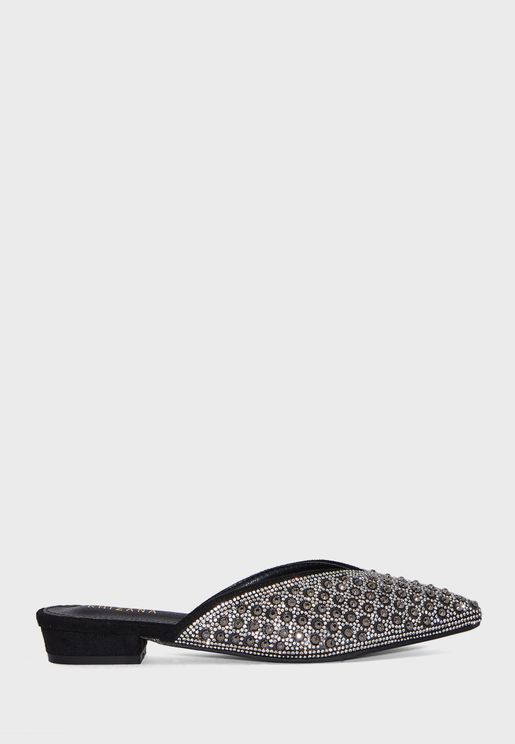 Jewelled Pointed Flat Slip On Shoes