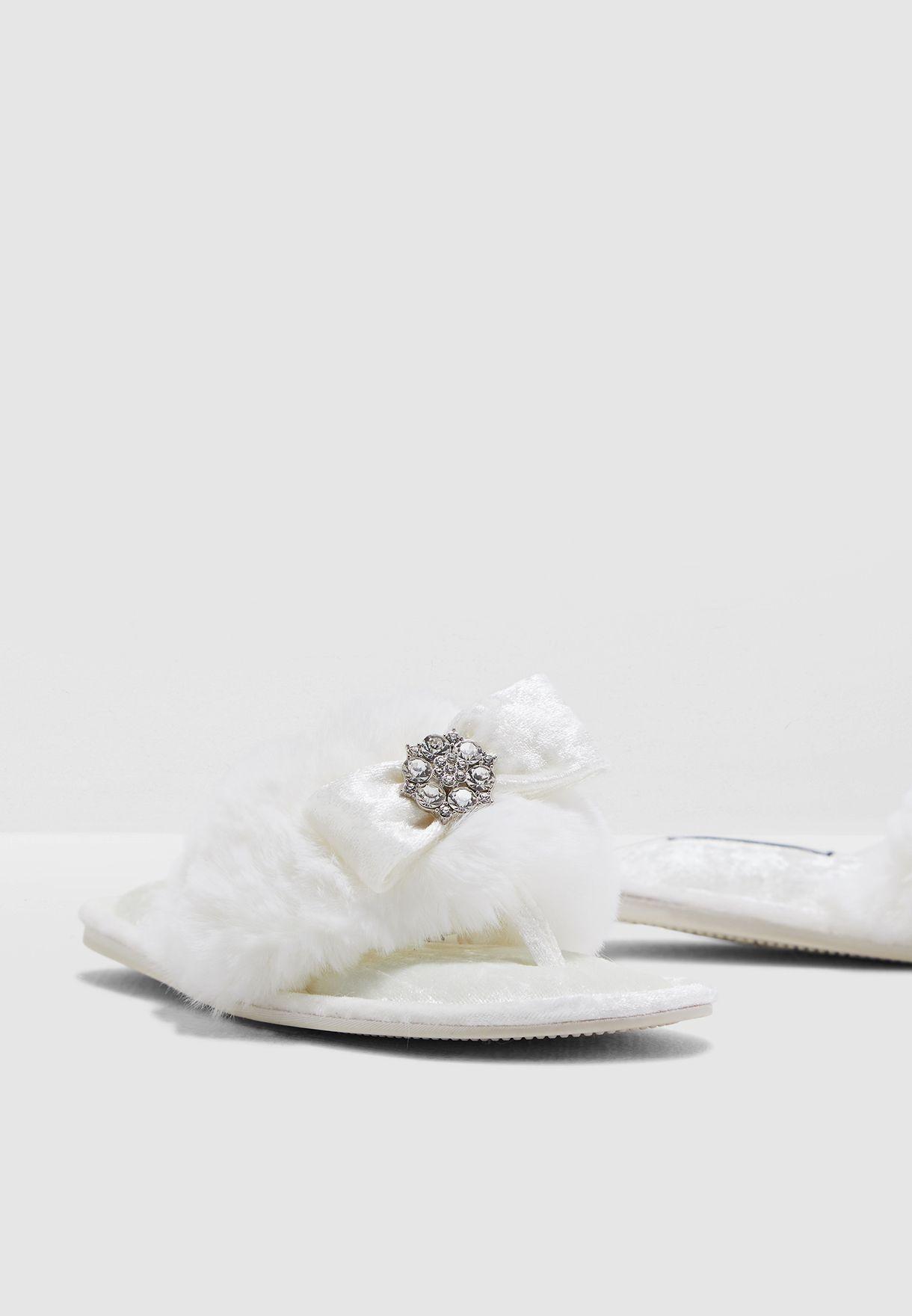 Faux-Fur Toe-Post With Diamante Embellishment