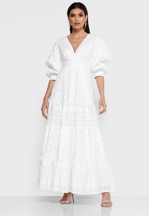 Puffed Sleeve Schiffli Dress