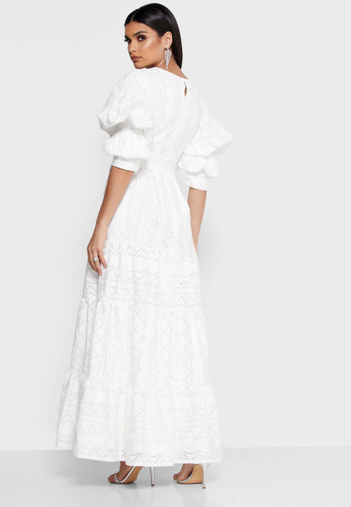 Puffed Sleeve Schiffli Dress