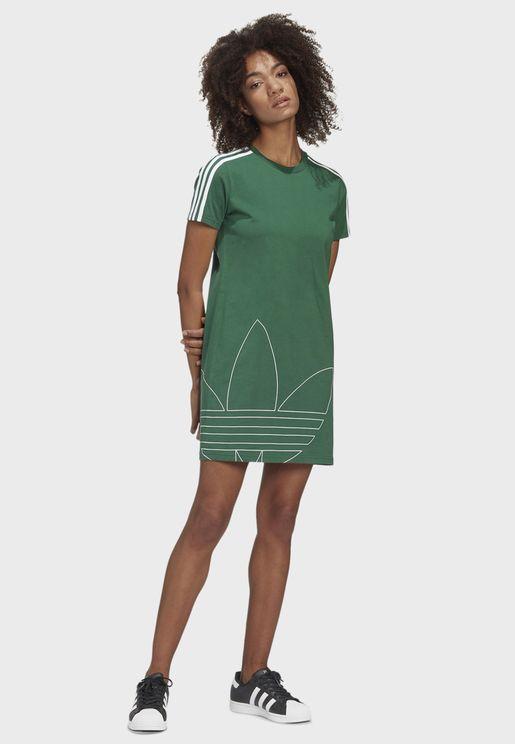فستان بياقة دائرية محززة