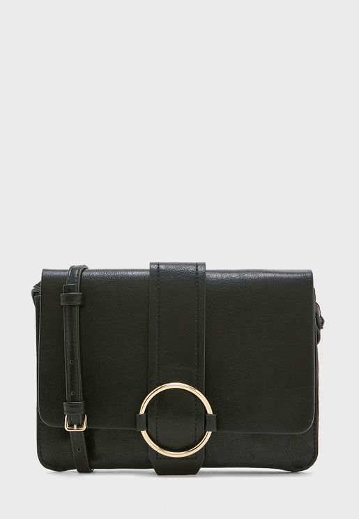Ring Detail Flap Over Crossbody