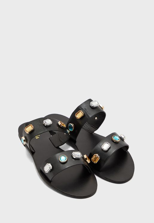 Double Strap Mixed Jewelled Flat Sandal