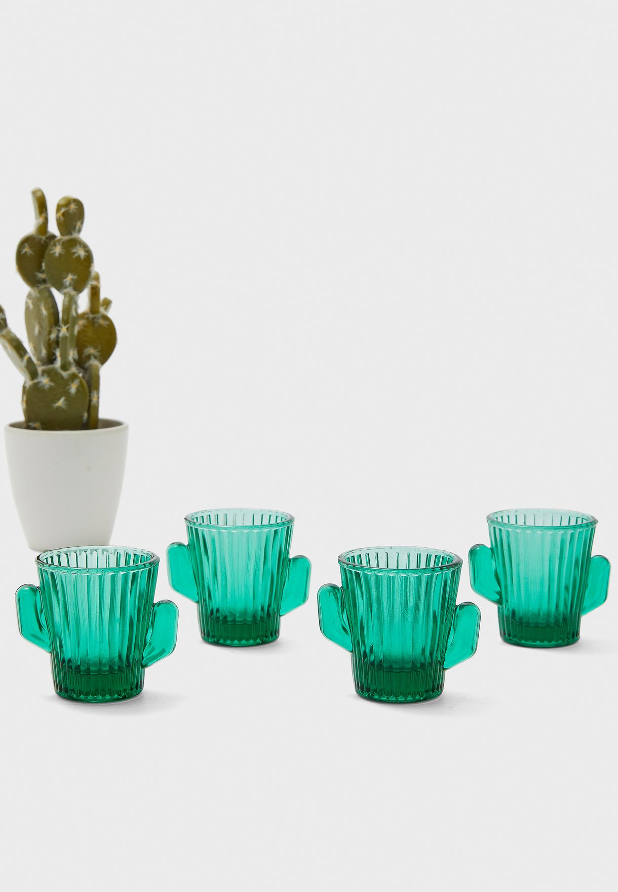 4 Pack Cactus Mini Glasses