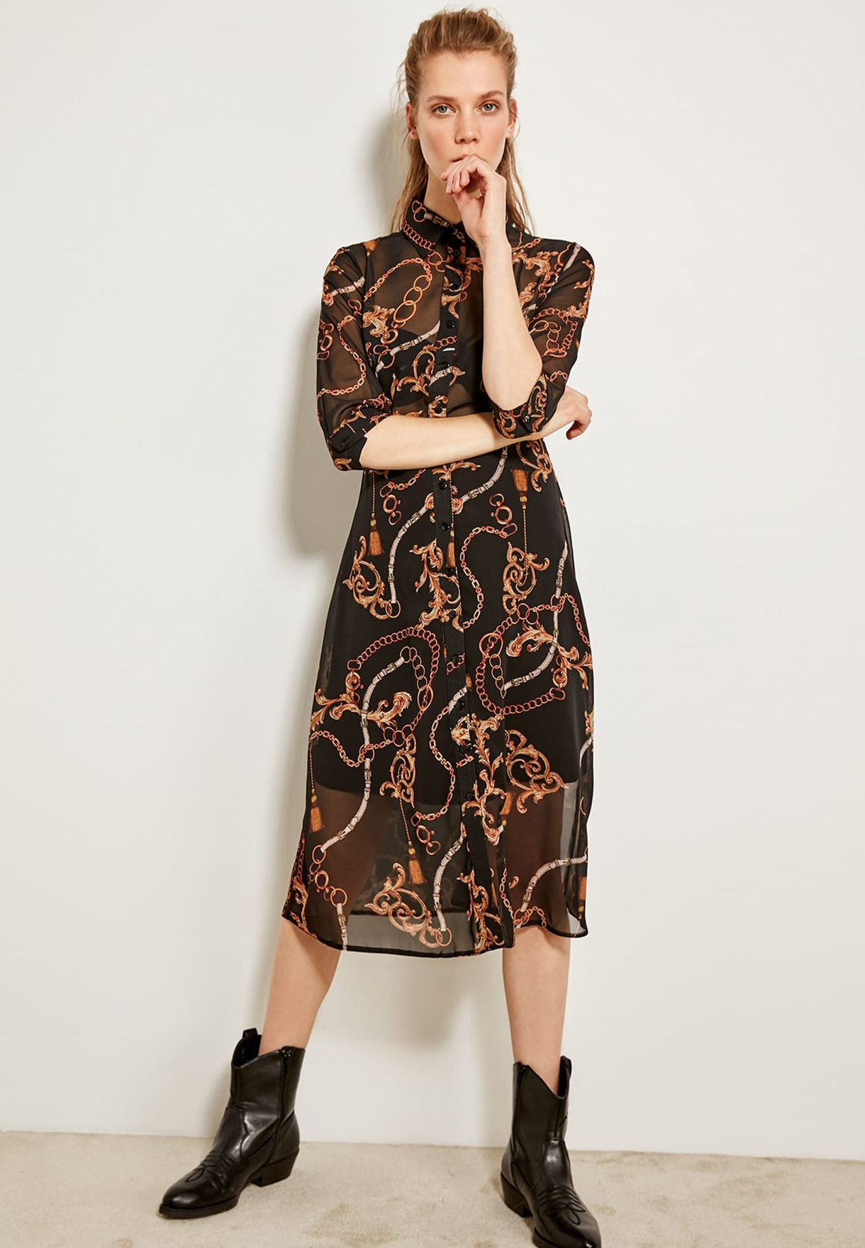 bf662dfd8203 Shop Trendyol prints Printed Sheer Shirt Dress TOFSS19XO0001/SIYAH ...