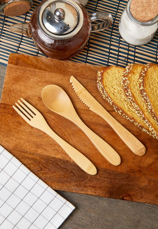 Set Of 3 Bamboo Cutlery