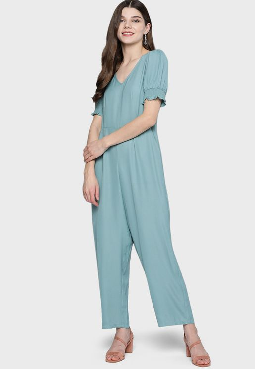 Puff Sleeves V-Neck Jumpsuit