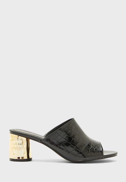 Wide Strap Block Heel Sandals