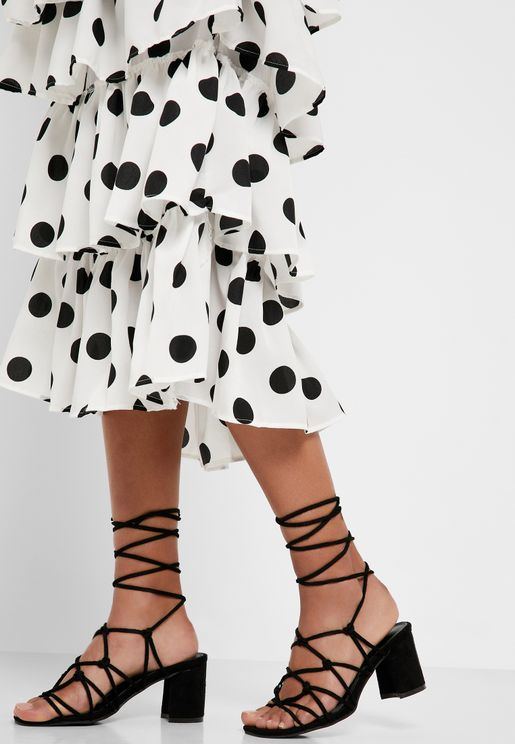 Knotted Lace Up Block Heel Sandal