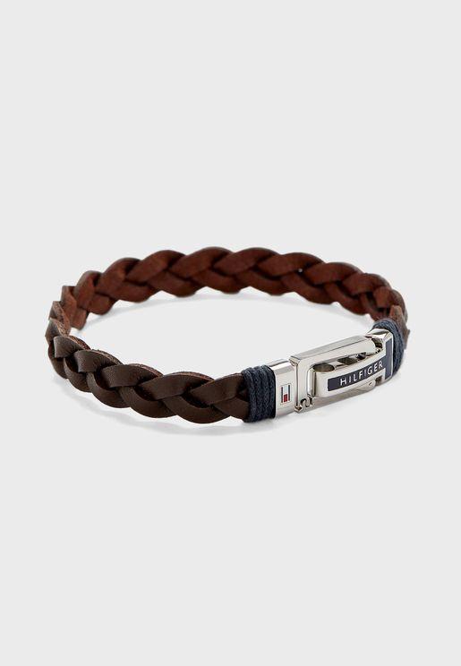Flat Braided Leather Bracelet