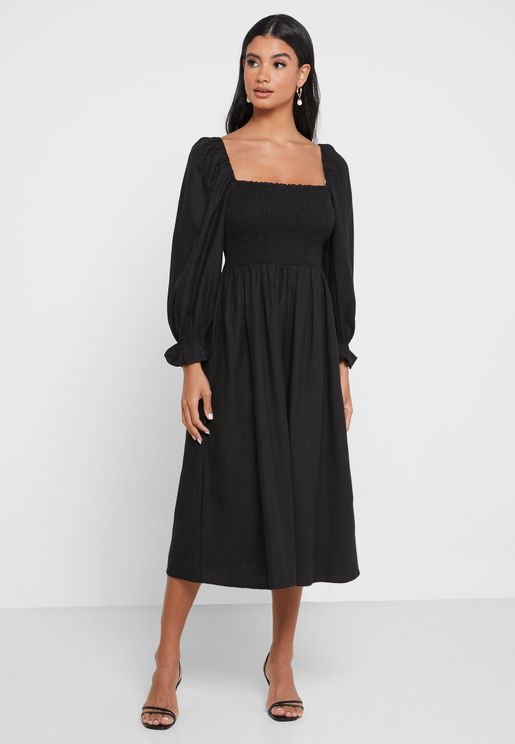 Shirred Puff Sleeve Midi Dress