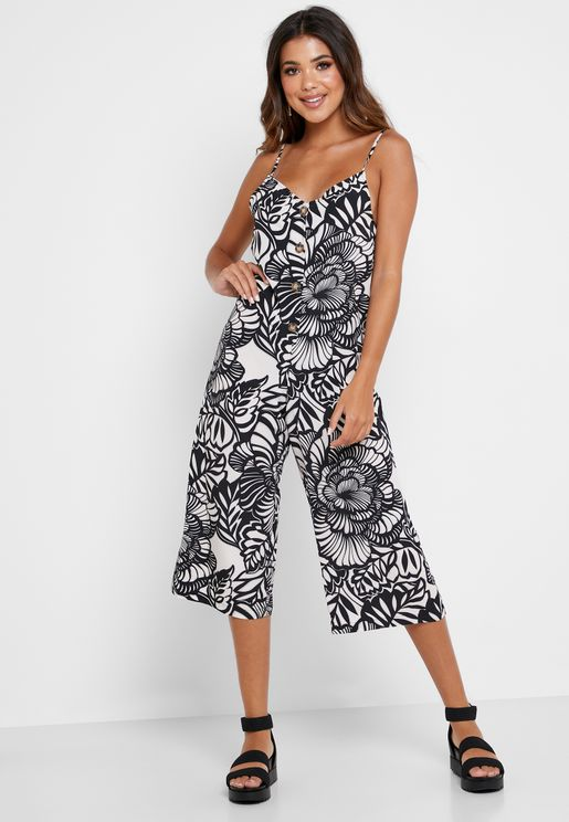 Button Down Cami Strap Printed Jumpsuit