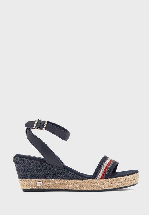 Grosgrain Mid Heel Wedge Sandal
