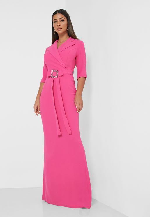 Collar Wrap Front Maxi Dress